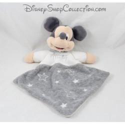 Doudou plat Mickey DISNEY gris losange étoiles 33 cm