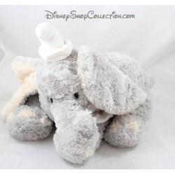 Peluche éléphant Dumbo DISNEY STORE bébé gris beige col blanc 35 cm