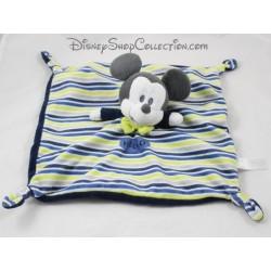 Doudou plat Mickey DISNEY NICOTOY Hello jaune bleu 28 cm