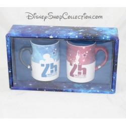 Lot de 2 mugs DISNEYLAND PARIS 25 ans du parc anniversaire 10 cm