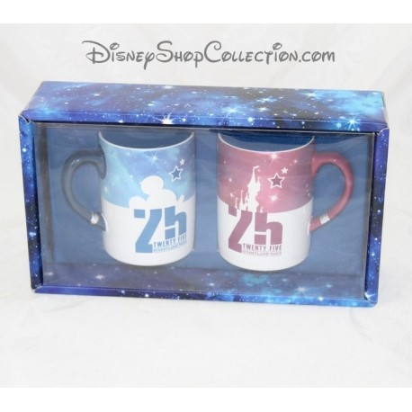 set of 2 mugs disneyland paris 25 years anniversary park 10 cm. Black Bedroom Furniture Sets. Home Design Ideas