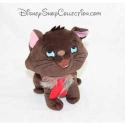 Peluche chat Berlioz DISNEYLAND PARIS Les Aristochats marron noeud rouge Disney 21 cm