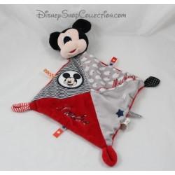 Doudou Plat Mickey Rouge Etoile Brodée Gris Noir Rayé Nuage Nicotoy Disney Neuf