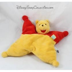 Doudou semi plat Winnie l'ourson DISNEY Winnie l'ourson jaune rouge 27 cm
