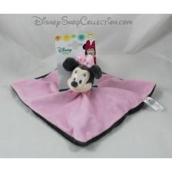 Doudou plat Minnie NICOTOY Disney Baby carré rose gris 25 cm