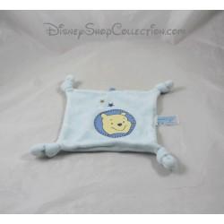 Doudou plat Winnie L'ourson DISNEY CARREFOUR carré bleu étoile 17 cm