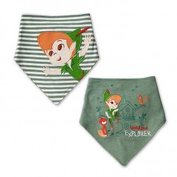 Peter Pan DISNEY STORE lot of 2 khaki bibs baby bandana bibs