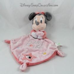 Doudou plat Minnie DISNEY BABY rose planètes 3 noeuds 31 cm