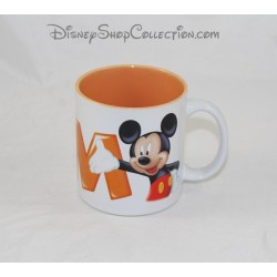Mug Mickey DISNEYLAND PARIS lettre M tasse céramique blanc orange Disney