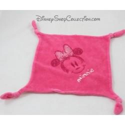 Doudou plat Minnie DISNEY CARREFOUR rose carré 4 noeuds Minnie Mouse