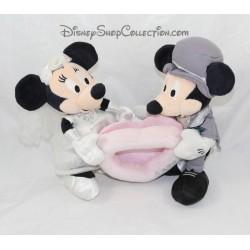 Peluche cadre photo Mickey Minnie DISNEY STORE mariage gris blanc 22 cm