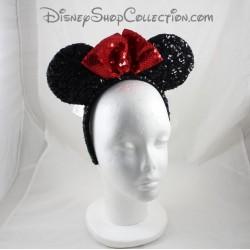 Minnie DISNEYPARKS Minnie Mouse red black sequined ears headband