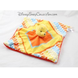 Doudou plat Winnie DISNEY NICOTOY carré orange jaune 26 cm