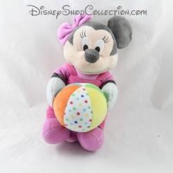 Peluche musicale Minnie DISNEY salopette rose ballon 25 cm