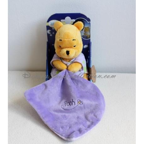 "Doudou Plat Ours Winnie L'ourson DISNEY STORE satin rose ""Lots of love Pooh & friends"""