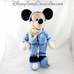 Peluche Mickey DISNEY STORE pyjama bleu bonnet de nuit 42 cm