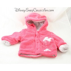 Minnie DISNEY BABY pink hooded velvet coat size 0-1 months