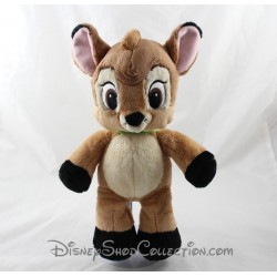 Peluche biche DISNEY NICOTOY Bambi marron collier vert 30 cm