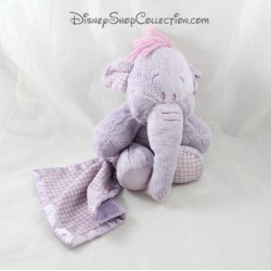 Plush elephant Lumpy DISNEY NICOTOY vichy 25 cm purple satin handkerchief