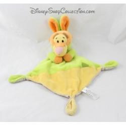 Doudou plat Tigrou NICOTOY capuche lapin vert jaune Disney