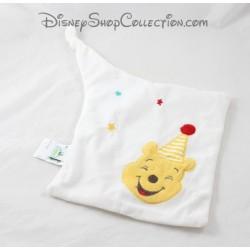 Doudou plat ours DISNEY BABY Winnie l'Ourson blanc chapeau de fête 23 cm