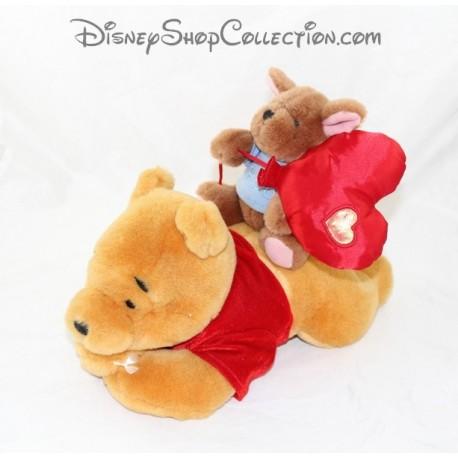 Peluche Winnie l'Ourson DISNEY STORE avec Petit Gourou sur le dos coeur 32 cm