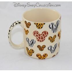 Mug tête de Mickey DISNEY PARKS animaux de la savane relief beige 3D 11 cm