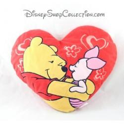 Coussin en forme de coeur DISNEY Winnie l'ourson et Porcinet rouge 31 cm