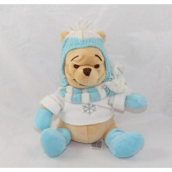 Plush Winnie the Pooh DISNEY STORE winter Hat glove scarf Blue Snowflake 22 cm