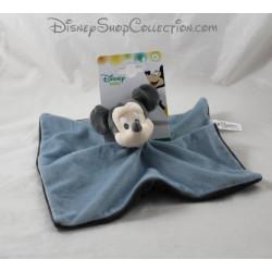 Doudou plat Mickey NICOTOY Disney Baby carré bleu gris 25 cm