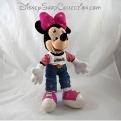 Peluche Minnie DISNEYLAND PARIS Tee shirt jean basket fleurs Disney 35 cm
