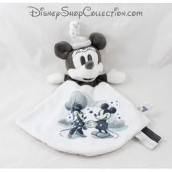 Doudou plat Minnie NICOTOY Disney gris blanc 28 cm