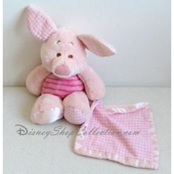 Peluche Piglet DISNEY handkerchief vichy satin Nicotoy pig 34 cm