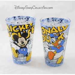Lot de 2 verres évasés Mickey Donald DISNEY bande dessinée 12 cm