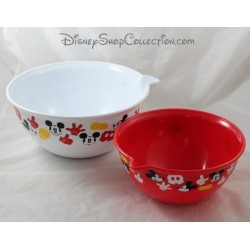 Lot 2 saladiers DISNEY STORE Mickey plastique rouge blanc