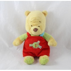 Plush Winnie the Pooh DISNEY BABY red overalls round green bird 23 cm