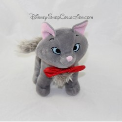 Peluche chat Berlioz DISNEY STORE gris noeud rouge Les Aristochats 20 cm