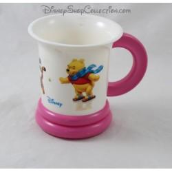Mug plastique Winnie l'ourson DISNEY rose blanc patinoire