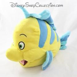 Peluche poisson Polochon DISNEY STORE La Petite Sirène jaune bleu 40 cm