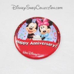 Happy Anniversary WALT DISNEY WORLD Mickey and Minnie Red Badge 7 cm