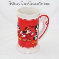 Beer mug DISNEYLAND PARIS Mickey evolution 1928 to today red Disney 17 cm