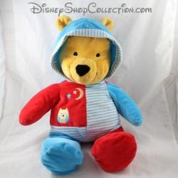 Peluche Winnie l'ourson NICOTOY Disney pyjama rouge bleu lune hibou 50 cm
