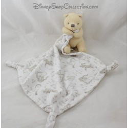 Doudou mouchoir Winnie l'ourson DISNEY STORE Baby 3 noeuds Disney Store 42 cm