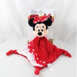 Doudou plat Minnie DISNEY NICOTOY rouge pois blanc losange 34 cm