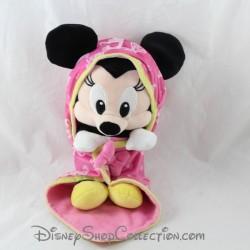 Peluche Minnie NICOTOY Disney couverture à capuche noeuds 31 cm