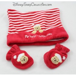 Ensemble bonnet et moufles DISNEY STORE Winnie l'ourson Noël bébé 6-12 mois