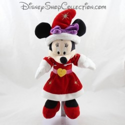 Peluche Minnie DISNEYLAND PARIS noël robe rouge coeur jaune Disney 33 cm